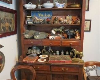 Chestnut Open Front Cupboard with Sliders on base with 2 Drawers Filled with great Toys, Decoys, Games