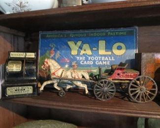 Ya-Lo Football Card Game, Uncle Sam Adding Bank, Cast Iron Horse and Wagon Chief