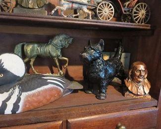 Cast Iron Scotty Dog Doorstop, Brass Horse Doorstop