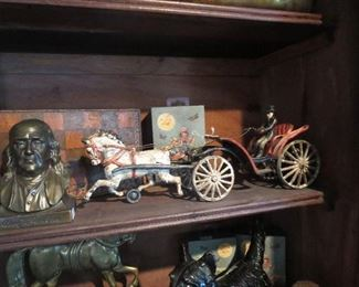 Ben Franklin Brass Bank, Cast Iron Horse and Carriage with Driver