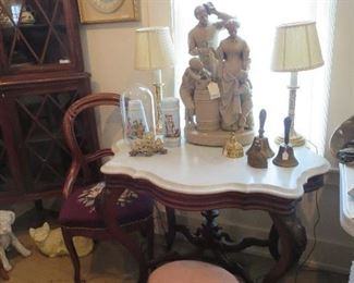 Super Turtle Marble Top Table, Grapes at Knees, Fancy Center Base