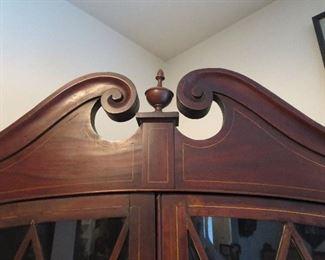Upper Portion of Regency Corner Cabinet showing inlay