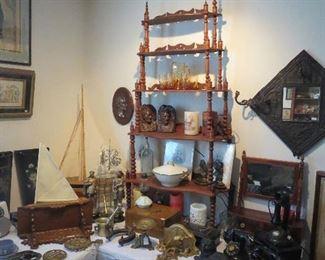 Walnut Victorian Wall Display Shelf