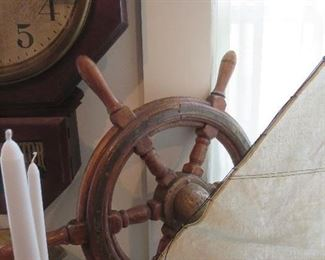 Antique Ships Wheel with Brass Cap