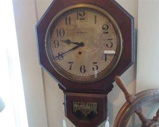 Regulator Wall Clock Antique Runs