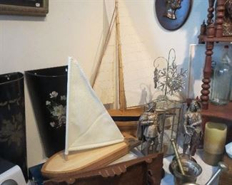 Smaller Newer Sail Bowl and Sail Boat Cutting Board with Utensils, Brass Single Mortar and Pedestal, Double Handled Mortar and Pedestal