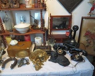 Collection of 1920s Telephones including Candlestick with Wall Box, Early Dresser Mirror with Drawers, Boston Sandwich Glass Pulls
