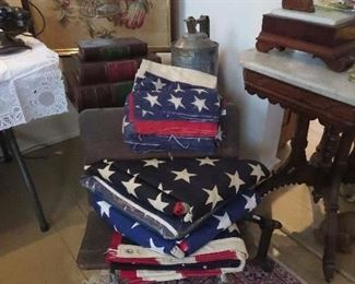 Collection of Flags including 48 Stars and Old Cheese Cloth Buttings
