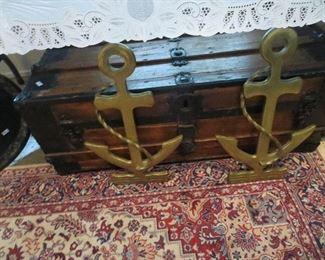 Pair of Brass Navy Anchors, Newer