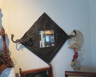 Tin Washington and Lincoln Wall Hat Rack Mirror, also American Eagle and the Capital.