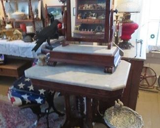 Early Dresser Mirror with Marble and Drawer, Cut Off Corner Walnut Marble Top Table, Resin Rabbit and Birdbath