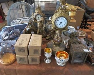 Collection of Victorian Clocks, Mercury Glass Master Salt Dip and Cordial with Gold interiors