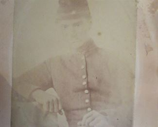 Early Photo of Union Soldier, partial Identified, light writing on back of photo