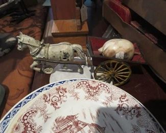 Antique Cast Iron Horse and Cart Toy