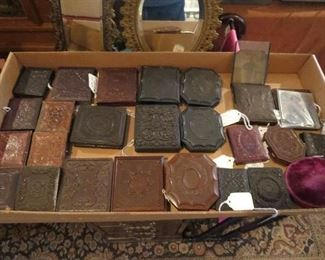 Collection of Dags, Tintypes, Ambrotypes in Gutta Percha Union Cases
