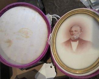 RARE Photo on Milk Glass in Oval Velvet Case