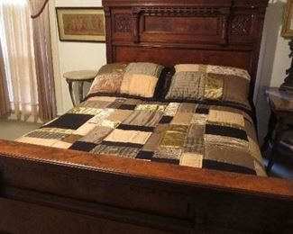 Super Grand Rapids Made Edwardian Bed with Carved Flowers and Matching Drop Front Dresser Sold as Set