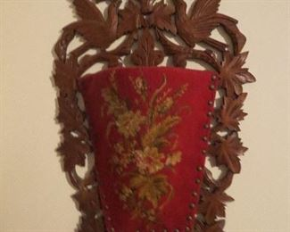 Super Needlepoint Wall Pocket with Carved Birds in Walnut and Leaves very Unusal