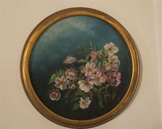 Super Oil on Board Painting of Flowers Saugatuck Souvenir from the 1800s Signed and Providence written on back