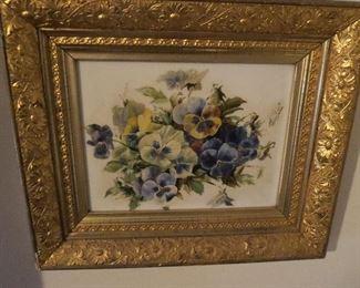 RARE Oil on Porcelain Framed Victorian Wall Art