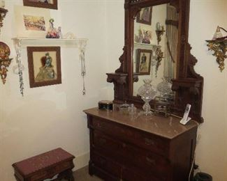 Pink Victorian Marble Top Dresser, Goes well with Bedroom Set but doesn't match