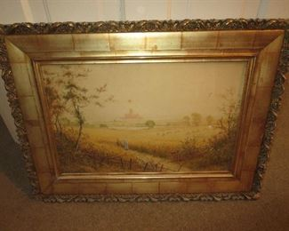 Listed Artist G Waters Ohio with Faux Painted Tile Frame Victorian