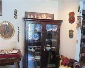 Super 2 Door Teak Book Case with Beveled Glass Doors Displays Wonderful