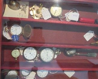 Collection of Pocket Watches, 1875 Army Souvenir Pin
