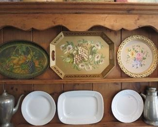 Tole Trays, Pewter, and Ironstone