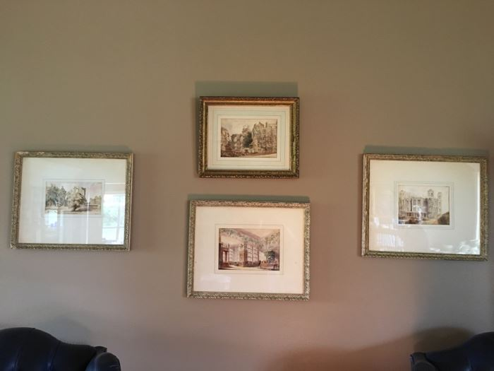 What a sweet collection!  Antique watercolor prints in original frames