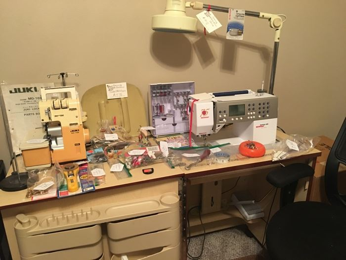 Sewing machine cabinet included with sew sewing machine