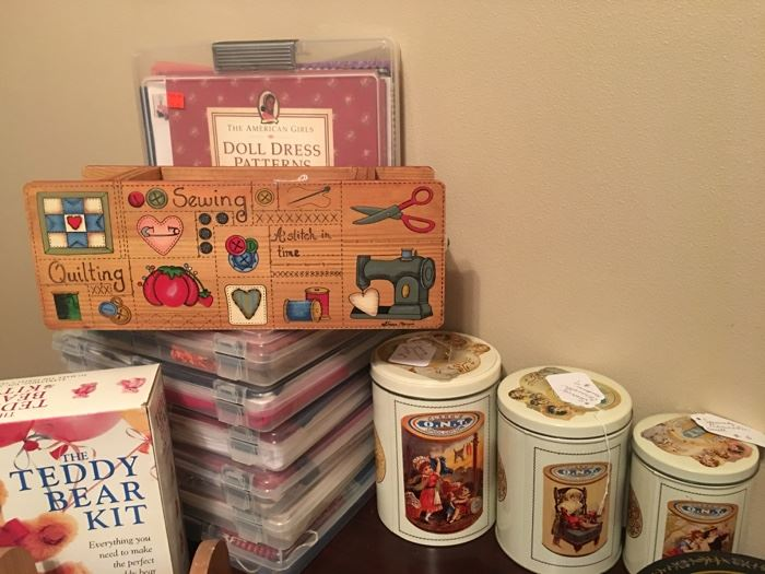 Many vintage sewing tins and American Girl sewing packs