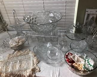 More great crystal pieces and doilies