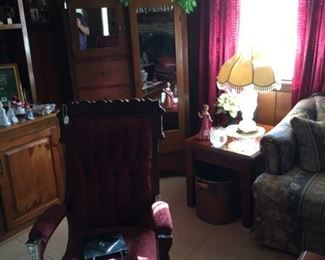 Antique Char with antique peice behind it, lamps, end table and much more