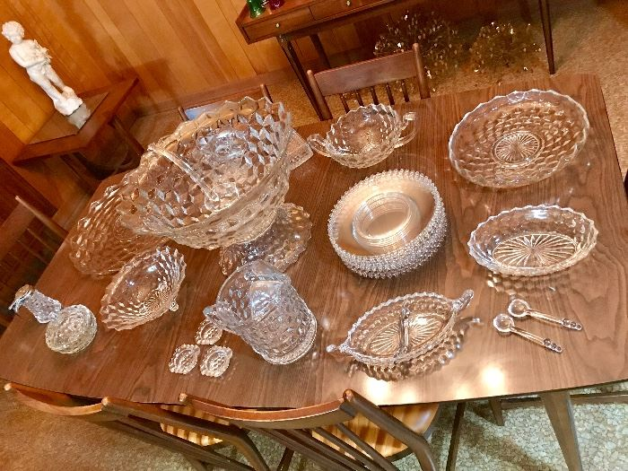 American Fostoria punch bowl, pitchers and other serving pieces
