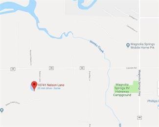 Area Map - Location is 10741 Nelson Lane, Foley, AL 36535
