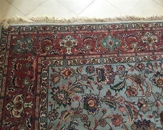 "Rug Iran 8'3"" x 11"" as is damage in the center prefect to have hall table on center,"