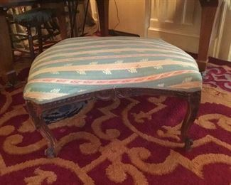 "French ottoman with curved legs 33"" x 28"""