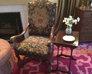 One of two French mouton style armchairs with tapestry upholstery