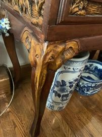 #4 Vanity w/2 drawers w/qi legs w/elephants on legs   40x18x30.5  Mirror  33x42  (as is moisture crack)  $ 475.00