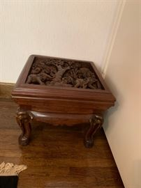#5 (2) Carved square table w/elephants under glass   20sqx17  Elephants on legs  $225 Each  $ 450.00