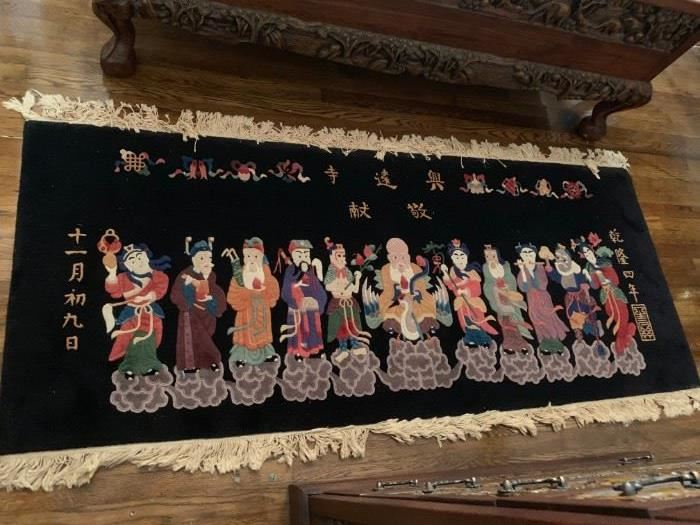 #6 Wall-Hanging Rug   Black w/Asian people    hand-knotted  72x30  $ 200.00