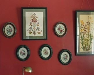 Framed crewel needlework