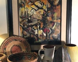Original Garcia painting, tribal masks, hand woven baskets, pottery