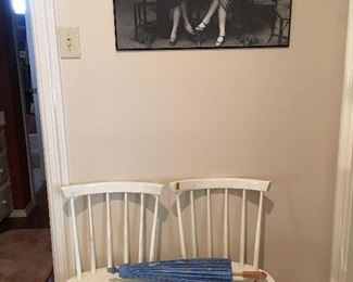 Pair of white wood dining chairs or desk