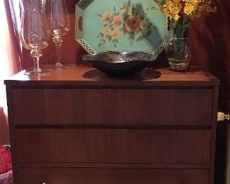 Mcm chest of drawers , tole tray, art glass