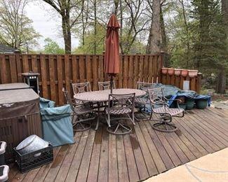 patio set, 6 chairs, umbrella