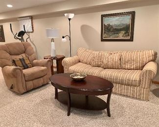 Couch, reclining chair and coffee table