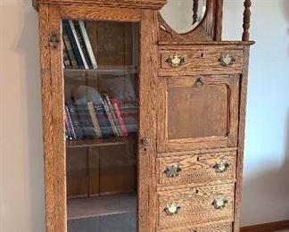 "Vintage Oak Bookcase - 49""w  X 56""h X 16""d -- Flat top w/ pillar w/ridge design -- Entire length ending in round ball feet."