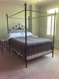 Queen wrought iron four poster bed